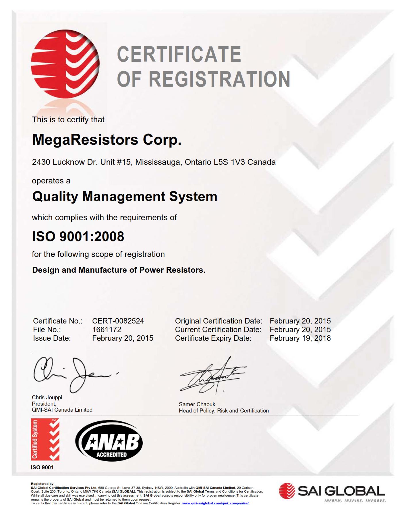 MegaResistors ISO 9001 Certificate